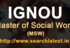 Master of Social Work IGNOU Admission