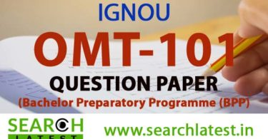 IGNOU OMT 101 Question Paper